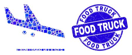 Geometric airplane landing mosaic icon and Food Truck seal. Blue vector round textured seal stamp with Food Truck text. Abstract mosaic of airplane landing made of round, triangles,