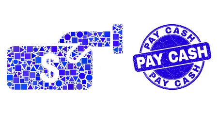 Geometric pay cash mosaic icon and Pay Cash seal stamp. Blue vector rounded scratched seal stamp with Pay Cash message. Abstract mosaic of pay cash composed of spheric, triangles, Illusztráció