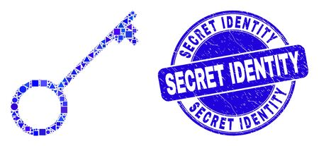 Geometric key mosaic icon and Secret Identity watermark. Blue vector round scratched stamp with Secret Identity message. Abstract mosaic of key constructed of round, tringle,