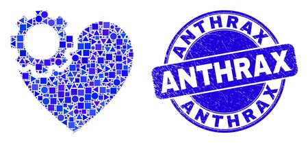 Geometric heart gear mosaic icon and Anthrax stamp. Blue vector round distress stamp with Anthrax text. Abstract mosaic of heart gear created of circle, triangles, square geometric spots.