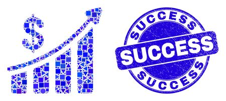 Geometric success financial chart mosaic icon and Success watermark. Blue vector round grunge watermark with Success title. Abstract composition of success financial chart organized of round, Illustration