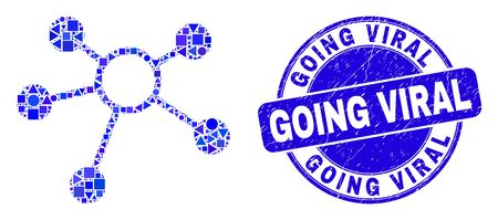 Geometric links mosaic icon and Going Viral seal stamp. Blue vector round grunge stamp with Going Viral caption. Abstract mosaic of links constructed of spheric, tringle, square geometric elements. Illustration