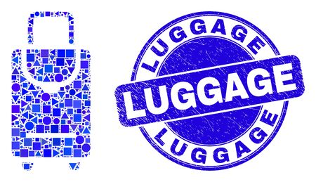 Geometric voyage luggage mosaic icon and Luggage seal stamp. Blue vector rounded grunge seal stamp with Luggage caption. Abstract collage of voyage luggage designed of spheric, tringle,