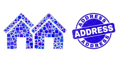 Geometric houses mosaic pictogram and Address seal. Blue vector rounded grunge seal stamp with Address title. Abstract collage of houses made of spheric, triangles, square geometric items.