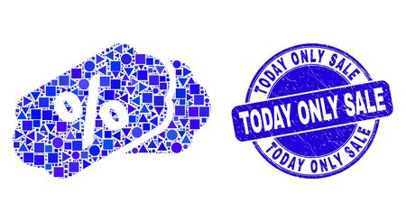 Geometric percent tags mosaic pictogram and Today Only Sale stamp. Blue vector round scratched stamp with Today Only Sale phrase. Abstract mosaic of percent tags created of round, tringle,