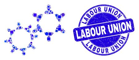 Geometric user collaboration mosaic pictogram and Labour Union watermark. Blue vector round scratched watermark with Labour Union caption. Abstract mosaic of user collaboration done of round, Illustration
