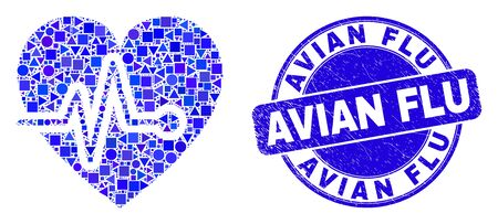 Geometric heart pulse mosaic icon and Avian Flu seal. Blue vector rounded distress seal stamp with Avian Flu phrase. Abstract mosaic of heart pulse composed of round, tringle, square geometric spots.
