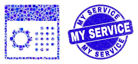 Geometric calendar settings mosaic pictogram and My Service seal stamp. Blue vector round scratched seal stamp with My Service text. Abstract composition of calendar settings done of round, tringle,