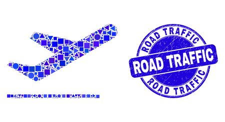 Geometric airplane takeoff mosaic icon and Road Traffic watermark. Blue vector round grunge stamp with Road Traffic title. Abstract mosaic of airplane takeoff constructed of round, triangles,