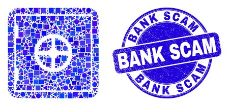 Geometric banking safe mosaic icon and Bank Scam stamp. Blue vector rounded scratched seal stamp with Bank Scam caption. Abstract mosaic of banking safe constructed of round, triangles,