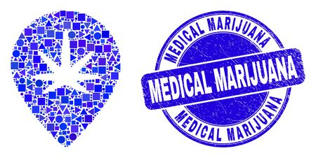 Geometric cannabis map marker mosaic icon and Medical Marijuana seal stamp. Blue vector rounded distress seal stamp with Medical Marijuana caption.