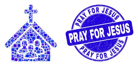 Geometric church people mosaic icon and Pray for Jesus watermark. Blue vector rounded distress watermark with Pray for Jesus phrase. Abstract mosaic of church people created of round, tringle, Çizim