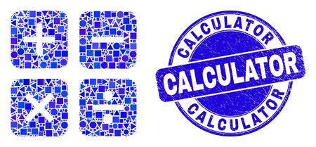 Geometric calculator mosaic pictogram and Calculator seal. Blue vector round textured watermark with Calculator caption. Abstract mosaic of calculator designed of round, triangles,