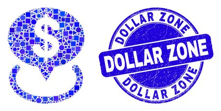 Geometric dollar placement mosaic icon and Dollar Zone seal stamp. Blue vector rounded textured seal stamp with Dollar Zone phrase. Abstract concept of dollar placement made of spheric, triangles,