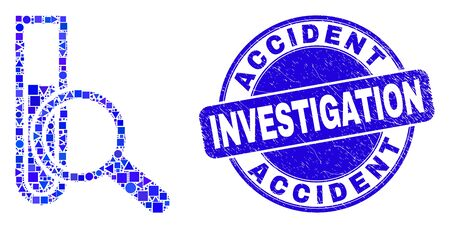Geometric explore test-tube mosaic icon and Accident Investigation seal stamp. Blue vector round textured stamp with Accident Investigation title.