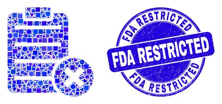 Geometric delete report page mosaic icon and FDA Restricted stamp. Blue vector round textured seal stamp with FDA Restricted caption. Abstract mosaic of delete report page created of round, triangles, Illustration