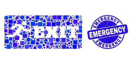 Geometric emergency exit mosaic icon and Emergency seal. Blue vector round distress seal with Emergency message. Abstract concept of emergency exit done of round, tringle, square geometric spots.