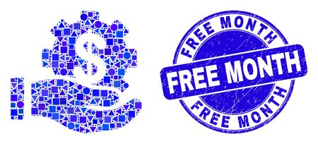 Geometric financial service offer hand mosaic pictogram and Free Month stamp. Blue vector round textured stamp with Free Month caption. Abstract mosaic of financial service offer hand made of round,