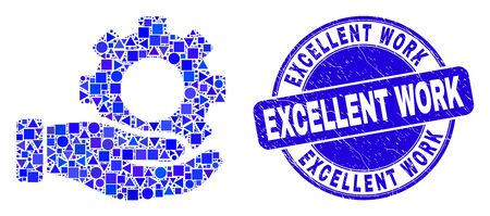 Geometric gear service hand mosaic icon and Excellent Work seal. Blue vector round textured seal stamp with Excellent Work phrase. Abstract mosaic of gear service hand combined of spheric, triangles,