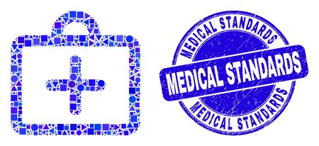 Geometric first-aid case mosaic icon and Medical Standards seal. Blue vector round grunge seal stamp with Medical Standards message. Abstract collage of first-aid case made of round, triangles,