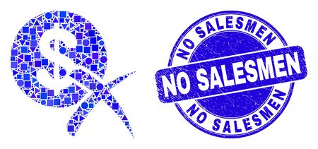 Geometric forbidden dollar mosaic pictogram and No Salesmen seal. Blue vector rounded scratched seal stamp with No Salesmen phrase. Abstract mosaic of forbidden dollar composed of round, tringle,