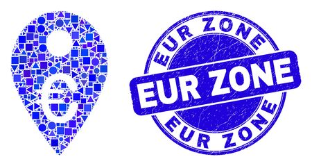Geometric euro map marker mosaic pictogram and EUR Zone watermark. Blue vector round scratched watermark with EUR Zone message. Abstract concept of euro map marker done of round, tringle, Çizim