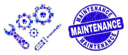 Geometric instrumental tools mosaic pictogram and Maintenance seal stamp. Blue vector round distress seal stamp with Maintenance message. Abstract mosaic of instrumental tools designed of round, Иллюстрация