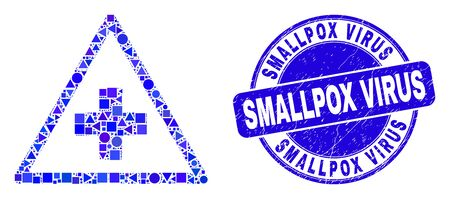 Geometric medical warning triangle mosaic pictogram and Smallpox Virus seal stamp. Blue vector round scratched seal with Smallpox Virus text.