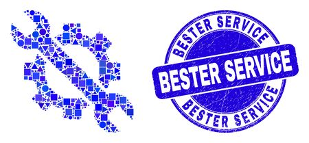 Geometric options tools mosaic icon and Bester Service seal stamp. Blue vector round distress seal with Bester Service text. Abstract mosaic of options tools done of spheric, tringle,