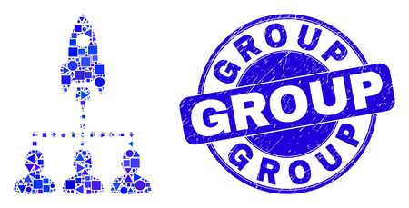 Geometric rocket startup group mosaic icon and Group seal stamp. Blue vector round scratched stamp with Group title. Abstract mosaic of rocket startup group created of circle, triangles,