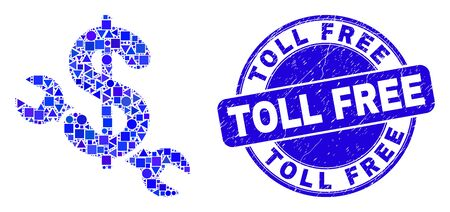 Geometric repair price mosaic pictogram and Toll Free stamp. Blue vector round textured stamp with Toll Free title. Abstract composition of repair price created of round, tringle,