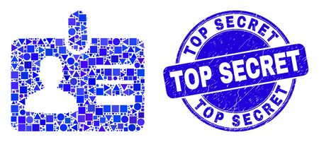 Geometric user id badge mosaic icon and Top Secret stamp. Blue vector round textured seal stamp with Top Secret title. Abstract mosaic of user id badge composed of spheric, tringle,