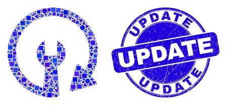 Geometric update repair wrench mosaic pictogram and Update seal. Blue vector round grunge seal with Update caption. Abstract collage of update repair wrench designed of round, tringle, Иллюстрация