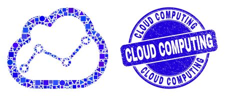 Geometric chart cloud mosaic pictogram and Cloud Computing stamp. Blue vector rounded distress seal stamp with Cloud Computing message. Abstract mosaic of chart cloud constructed of circle, tringle,
