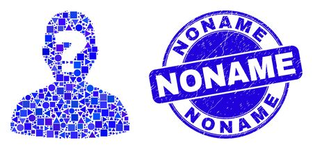 Geometric unknown person mosaic pictogram and Noname seal stamp. Blue vector rounded grunge seal with Noname title. Abstract mosaic of unknown person created of round, tringle, Vectores