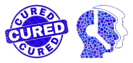 Geometric call service operators mosaic icon and Cured seal stamp. Blue vector round textured seal stamp with Cured phrase. Abstract concept of call service operators designed of round, triangles,