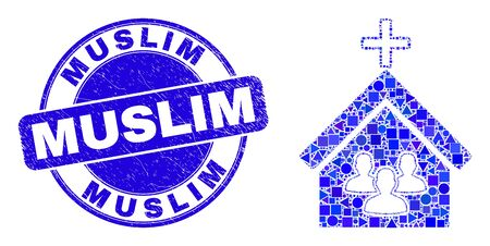 Geometric church people mosaic pictogram and Muslim seal stamp. Blue vector rounded textured seal stamp with Muslim caption. Abstract mosaic of church people created of spheric, tringle, Çizim