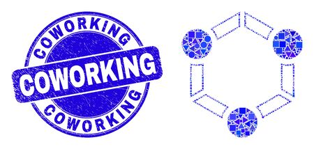 Geometric cooperation mosaic icon and Coworking seal stamp. Blue vector round scratched seal stamp with Coworking phrase. Abstract mosaic of cooperation designed of round, tringle, Illustration