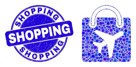 Geometric airport shopping bag mosaic icon and Shopping seal stamp. Blue vector rounded textured seal stamp with Shopping caption. Abstract mosaic of airport shopping bag created of round, tringle,