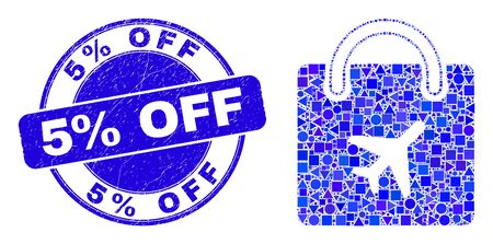 Geometric airport shopping bag mosaic icon and 5% Off seal stamp. Blue vector round textured seal stamp with 5% Off title. Abstract concept of airport shopping bag combined of round, triangles, Иллюстрация
