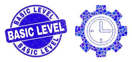 Geometric clock setup wheel mosaic icon and Basic Level seal stamp. Blue vector rounded grunge stamp with Basic Level message. Abstract mosaic of clock setup wheel made of round, triangles,
