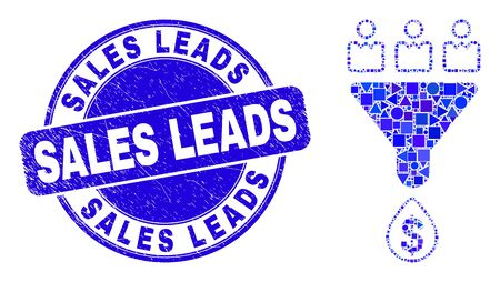 Geometric customers sales funnel mosaic pictogram and Sales Leads seal. Blue vector rounded scratched seal stamp with Sales Leads title. Abstract mosaic of customers sales funnel combined of spheric,