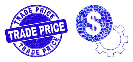 Geometric financial options gear mosaic icon and Trade Price seal stamp. Blue vector round distress seal stamp with Trade Price text. Abstract mosaic of financial options gear constructed of spheric,