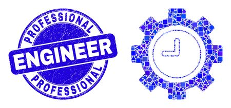 Geometric clock settings gear mosaic pictogram and Professional Engineer watermark. Blue vector rounded textured watermark with Professional Engineer phrase.