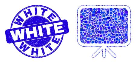 Geometric banner board mosaic icon and White watermark. Blue vector rounded grunge watermark with White text. Abstract mosaic of banner board done of circle, triangles, square geometric items.