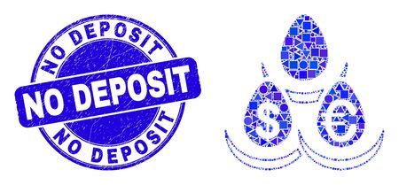 Geometric currency deposit eggs mosaic pictogram and No Deposit seal stamp. Blue vector round scratched seal stamp with No Deposit caption.