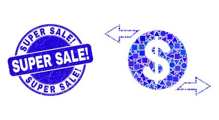 Geometric dollar exchange arrows mosaic icon and Super Sale! seal stamp. Blue vector rounded textured seal stamp with Super Sale! message. Иллюстрация