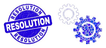 Geometric gears rotation mosaic icon and Resolution seal. Blue vector round textured seal stamp with Resolution caption. Abstract mosaic of gears rotation organized of spheric, tringle,