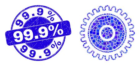 Geometric cog mosaic pictogram and 99.9% seal stamp. Blue vector round textured seal stamp with 99.9% text. Abstract concept of cog designed of round, triangles, square geometric elements.