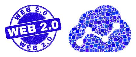Geometric cloud chart mosaic pictogram and Web 2.0 stamp. Blue vector round distress stamp with Web 2.0 text. Abstract composition of cloud chart done of round, triangles, square geometric elements. Ilustrace